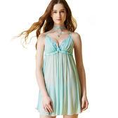 思薇爾-啵時尚花漾女神系列蕾絲刺繡性感連身小夜衣(汽水綠)