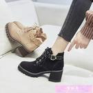 馬丁靴女鞋英倫風半靴子新款百搭高跟短靴粗跟春秋款單靴冬季 裝飾界