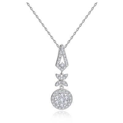 項鍊 純銀鍍白金 鑲鑽墜飾-精緻獨特生日聖誕節禮物女飾品73ct75[時尚巴黎]