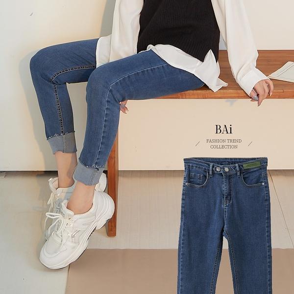 皮革標雙釦抽鬚窄管牛仔褲M-XL號-BAi白媽媽【310948】