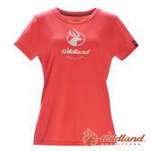 【wildland 荒野】女 彈性印花經典抗UV上衣『亮橘』0A71637 T恤 上衣 休閒 抗紫外線 吸濕 排汗 印花