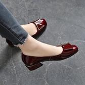 低跟鞋真皮單鞋女平底2020夏季新款百搭春款低跟粗跟淺口紅色春秋小皮鞋 衣間迷你屋