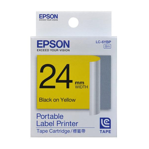 EPSON 24mm 粉彩系列標籤帶 LC-6YBP 黃底黑字