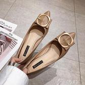 百搭小清新少女單鞋2019春季新款韓版粗跟尖頭法式高跟鞋chic   奇思妙想屋