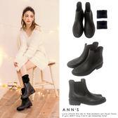 Ann'S浪漫步伐-前雕花附刷毛短筒雨靴-黑
