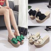 厚底坡跟女拖鞋夏季新款韓版時尚外穿超高跟 DN7135【歐爸生活館】