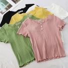 短款修身純色扣子T恤女夏季新款圓領短袖坑條打底衫薄款上衣 美芭