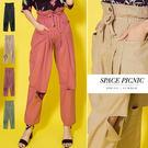 長褲 Space Picnic|高腰排釦膝割破休閒長褲(現貨)【C18071026】