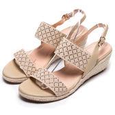 DIANA 仲夏風味--鬆緊繃帶金屬水鑽菱格楔型涼鞋-米★特價商品恕不能換貨★