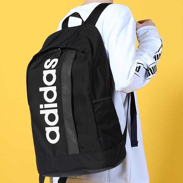 adidas LINEAR CORE BACKPACK 背包 後背包 休閒 大字樣LOGO 雙肩包 手提 黑白 DT4825