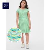 Gap女童 妙趣印花圓領短袖寬擺洋裝 465529-水藍色