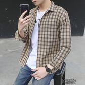 春季男裝長袖格子襯衫男士修身襯衣百搭帥氣休閒長袖襯衫