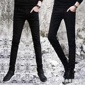 秋季黑色牛仔褲男士韓版修身青少年小腳褲潮流男裝休閒男褲子長褲 時尚芭莎