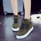韓版休閒鞋 時尚百搭加絨保暖學生魔術貼高幫鞋 單鞋