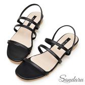 訂製鞋 韓版細帶線條方頭平底涼鞋-艾莉莎ALISA【329411】黑色下單區
