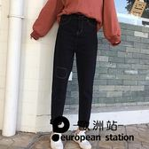 牛仔長褲/女裝寬鬆直筒褲貼布高腰復古「歐洲站」