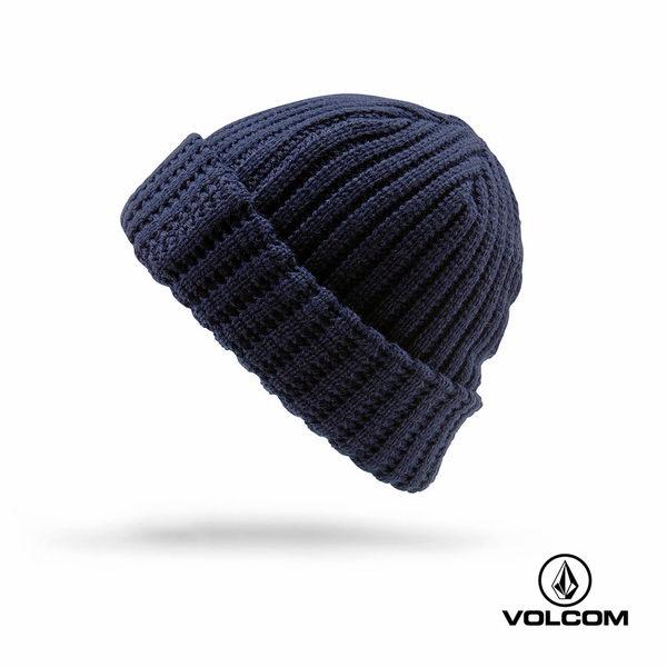 VOLCOM JAX BEANIE 車牌式LOGO反摺針織帽(男款)-海軍藍