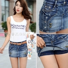 牛仔裙21夏季韓版假兩件牛仔短褲女防走光包臀半身裙直筒短裙褲女學生 快速出貨