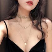 項鍊女鎖骨鍊網紅ins韓國氣質雙層多層吊墜性感y型歐美不掉色小?