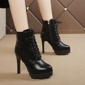 秋冬季新款系帶高跟女鞋加絨細跟英倫風馬丁靴潮厚底防水臺女短靴