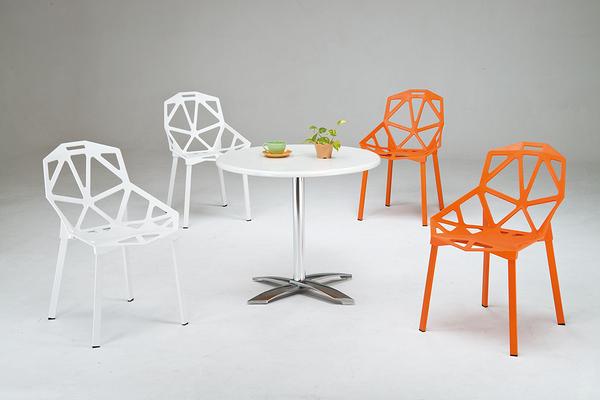 【 IS空間美學】81圓洽談桌+愛莉斯造型風格椅兩色可選(一桌四椅)