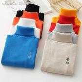 兒童毛衣男童女童秋冬款加絨加厚針織打底衫棉套頭高領寶寶毛線衣   莫妮卡小屋