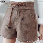 毛呢短褲女秋冬2018新款冬季外穿高腰寬鬆大碼顯瘦闊腿打底靴褲子 美芭