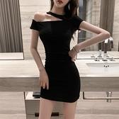 緊身洋裝 性感露肩洋裝2021夏裝新款女裝氣質掛脖顯瘦黑色緊身包臀短裙子【快速出貨】