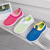 男童透氣休閒運動鞋女童軟底幼兒園室內外學生鞋涼鞋漏洞單網網鞋 童趣屋