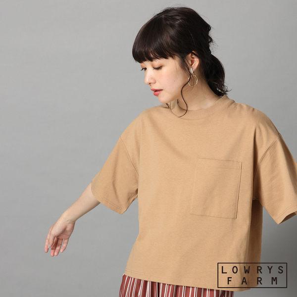 LOWRYS FARM素色圓領落肩OVERSIZE口袋純棉短袖T恤上衣-四色