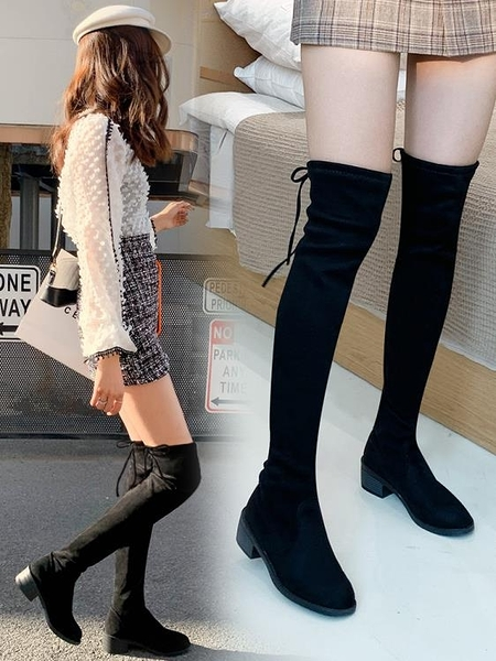 過膝長靴 冬季加絨新款馬丁瘦瘦女鞋秋款高筒網紅平底長筒靴子【快速出貨】