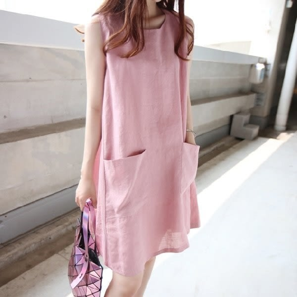 *漂亮小媽咪*清新純色棉麻素材寬鬆舒適口袋修身無袖孕婦連衣裙洋裝孕婦裝 D6235UK