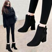 2017秋冬新款短筒馬丁靴潮女短靴高跟粗跟尖頭百搭加絨踝靴及裸靴