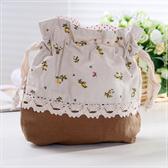 日本風長方型底拼布束口袋(咖啡/碎花) 孩童&大人用品 魔法Baby