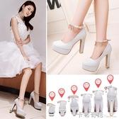 婚鞋女新款銀色高跟鞋結婚鞋子粗跟防水台女婚紗新娘鞋伴娘鞋 雙十二全館免運