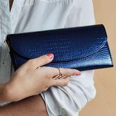 皮夾(長夾)-鱷魚紋歐美奢華時尚晚宴女零錢包2色73eb45【時尚巴黎】