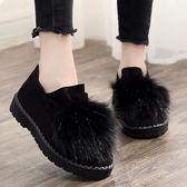 冬季棉鞋女豆豆鞋老北京布鞋女鞋加絨保暖雪地靴平底一腳蹬毛毛鞋【onecity】
