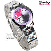 HELLO KITTY 凱蒂貓 熱愛美樂蒂 數字時尚錶 不銹鋼 女錶 粉紫色 防水手錶 LK678LWVA