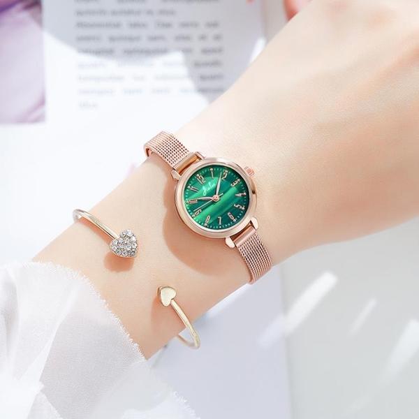 2021新款ins風韓版時尚小巧女手表學生簡約氣質小綠表數字小表盤 怦然新品