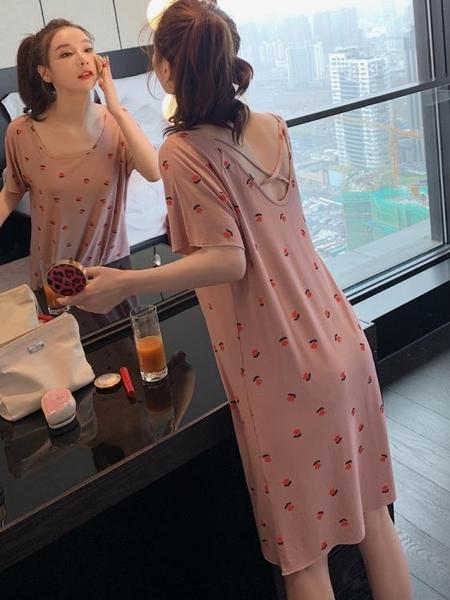 睡裙 夏季睡裙女莫代爾棉薄款甜美短袖睡衣小性感露背春秋中長款連身裙 非凡小鋪