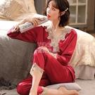 秋冬季睡衣女春季可外穿2021新款薄款蕾絲休閒冰絲綢家居服套裝夏 快速出貨