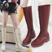 長筒靴 網紅馬丁靴女英倫風秋冬系帶中筒靴女騎士靴子過膝長靴