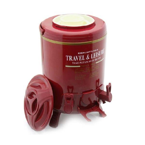 奶茶桶 飲料桶 雙龍頭 奶茶 保溫桶果汁飲料桶咖啡/奶茶桶 紅茶保溫桶9.5升 紅色 DF 城市科技