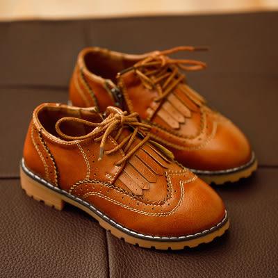 饅頭家-男女童鞋3-7歲英倫復古學院風流蘇側拉鍊皮鞋(3色)【5A065】