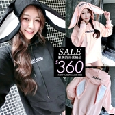 克妹Ke-Mei【ZT62541】獨家!萌系女神款大兔耳朵字母電繡連帽T恤上衣
