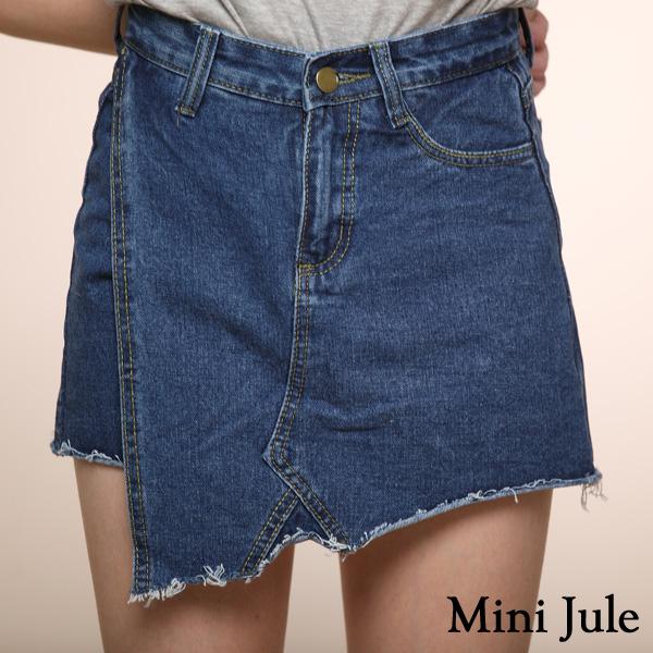褲裙 不對稱斜擺牛仔褲裙(深藍)小豬兒 Mini Jule【KUA81003017】現貨