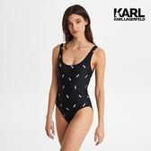 【KARL LAGERFELD】墨鏡挖背連身泳衣-黑