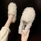 網紅同款女韓版加絨棉鞋瓢女鞋秋冬季外穿一腳蹬毛毛鞋 - 古梵希