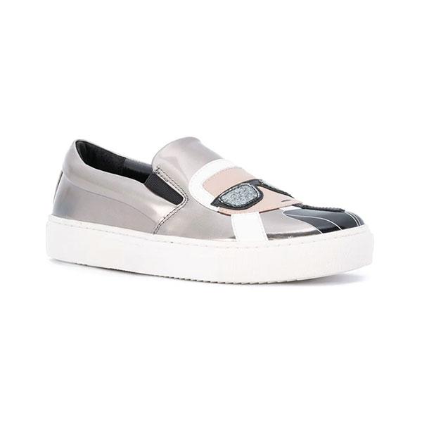 Karl Lagerfeld 卡爾 老佛爺鞋 KUPSOLE Q版樂福鞋-銀灰