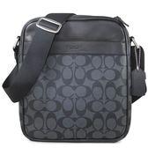COACH 防潑水PVC Logo炭黑色直立式拉鍊飛行包 斜背包 男用(炭黑色)-54788